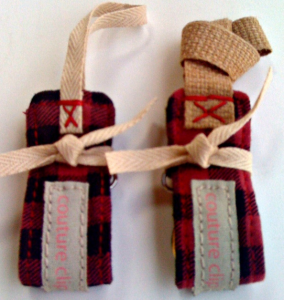 Red Plaid Cotton Binky Clip & Toy Clip