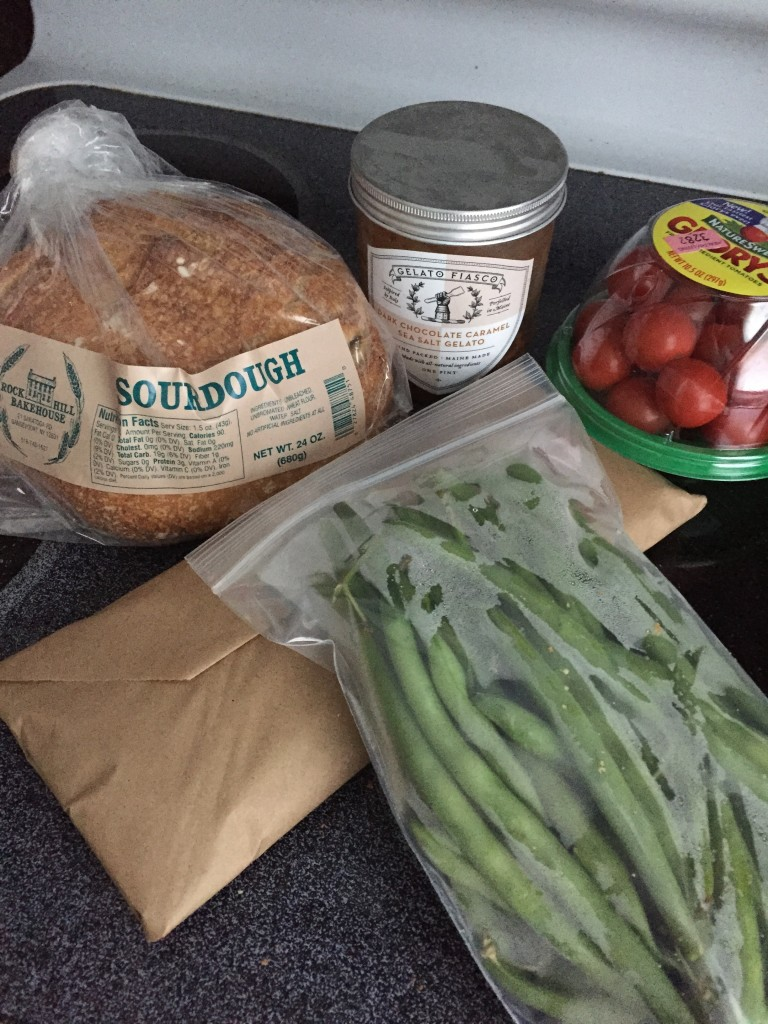 Some of the haul from my Healthy Living Market trip. Sirloin steak, green beans, tomatoes, sourdough bread, and some gelato!